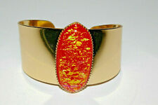 Runway Adjustable Cuff Bracelet Gold Tone with Fiery Orange Cabochon