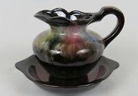"Art Pottery Pitcher & Underplate * Dark Brown - Multi-Color Glaze* 5"" *Excellent"
