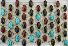 Wholesale Lots 32pcs Mixed Natural Stone Ring Resin Two-color Alloy Men's Rings