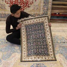 Yilong 2'x3' Blue Hand knotted Carpet Soft Parlor Hand Woven Area Silk Rugs 130A