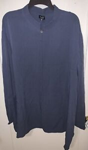 Eileen Fisher blue/grey 100% silk cardigan blouse Size 3X one button CAREER