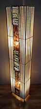 Unusual Jungle Flame Lamp Hand made from Bamboo & Bark in Bali 150cm Floor Lamp