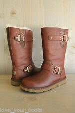 UGG KENSINGTON CHOC LEATHER  SHEEPSKIN MOTORCYCLE BOOTS, US 5 EU 36 NEW IN BOX