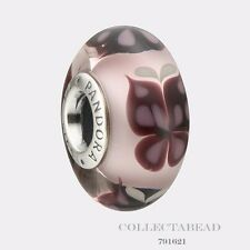 Authentic Pandora Sterling Silver Murano Pink Butterfly Kisses Bead 791621