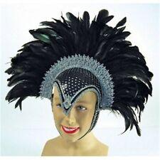 Plume Casque Bijou Noir + Panache - Dames Noire + Accessoire Showgirl Burlesque