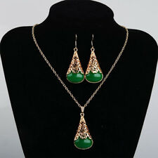 Green Water Drop Faux Jade Stone Necklace Earrings Set Hollow Women Jewelry Gift