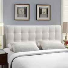 Tufted Queen Headboard White Faux Leather Upholstered Button Fabric Padded Bed