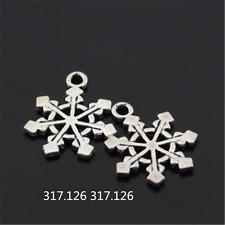 20X Tibetan Silver Christmas Snowflake Charm Pendant Beads Jewellery Craft GU951
