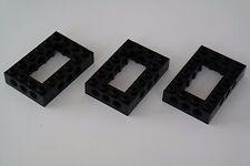 3 Lego Technic Lochbalken Lochsteine 4x6 Kasten schwarz NEU 40344