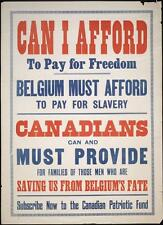 Print. WW1. Canadian Patriotic Fund - CAN I AFFORD TO PAY FOR FREEDOM