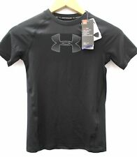 Boys UNDER ARMOUR Black Fitted Heat Gear Base Layer Top Youth Medium BNWT  - Z04