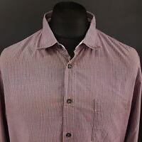 HUGO BOSS Orange Mens Shirt XL Long Sleeve Pink Regular Fit Striped Cotton