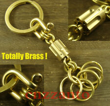Handmade Totally Brass key chain ring holder Lanyard bead Paracord beads H331