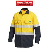 Mens Hard Yakka Protect ShieldTec Hi-Vis Fire Resistant Safety Shirt Top Y04350