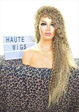 40 INCH LONG ASH BLONDE BROWN OMBRE CURLY WIG LACE FRONT PERM HUMAN HAIR BLENDS