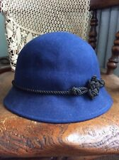 Vintage East Additions 100% Wool Cloche Bucket Hat Blue Braid Trim