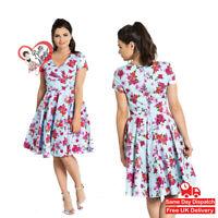 Hell Bunny Alyssa Sky Blue Red Floral Vintage Womens Mid 50s Mini Retro Dress