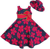 Robe Fille 2 Pecs Bob Arc Attacher Fleur Été Plage Enfants Vêtements 4-12 ans