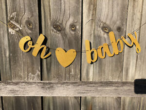 Oh Baby Glitter Gold Paper Bunting Banner Baby Shower Party Decoration