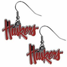 Nebraska Cornhuskers Dangle Earrings (Chrome) NCAA Licensed Jewelry