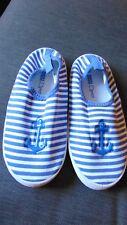 M&S Round Toe Striped Slip On Water Shoes UK 12 (Kids) EU 30.5 Blue Mix BNWT