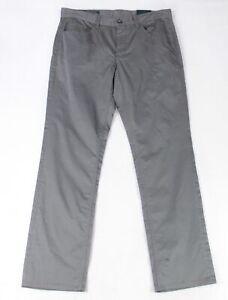 Perry Ellis Mens Pants Gray Size 34X32 Slim Fit Flat Chino Stretch $59- #138
