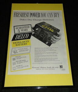 1955 Delco Batteries GM Framed 11x17 ORIGINAL Advertising Display