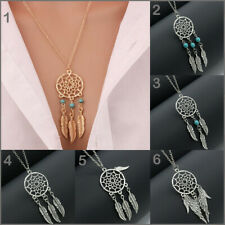 Womens Mens Dream Catcher Charm Pendant Long Chain Necklace Gold Silver Jewelry