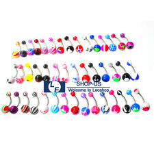 Belly Button Navel Ring Body Piercing New 50pcs 14g Mix Color Stainless Barbell