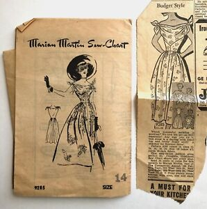 Vintage 1950s MARIAN MARTIN Sewing Pattern Full Skirt Dress TIE Neckline Size 14