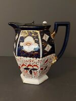 Vintage Gaudy welsh Hot water  Jug with pewter lid. Hexagonal shaped body.