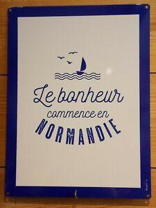 Plaque émaillée Le Bonheur Normandie souvenir décoration cadeau memory Normandy