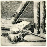 """Llop - """"Libros 4"""" - grabado aguafuerte original"""