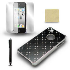 For iPhone 4 4S Black Chrome Protective Case Cover + Screen Film + Stylus Pen