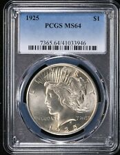 1925 PEACE Silver $1 Dollar PCGS MS64 (3946) 99c NO RESERVE  Witter Coin