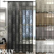 ONE SINGLE HOLLY VINTAGE LACE CURTAIN VOILE SLOT TOP PANEL - Many Colours