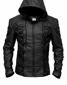 Stephen Amell Roy Harper Green Arrow Lambskin Black Leather Jacket - BNWT