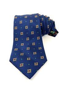 Lauren By Ralph Lauren Necktie Tie Navy Blue With Gold Green Red