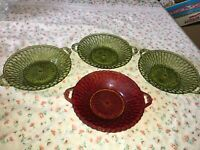"4 VTG INDIANA GLASS Avocado Green & Ruby Red Honeycomb Relish Bowl Dish 9 1/4"""