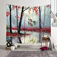 """Tapestry Nature Forest Autumn Painting Red Trees Leaves 59"""" x  51"""" Wall Hanging"""