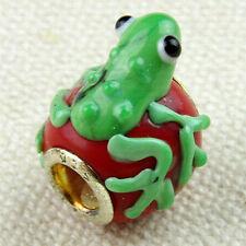 1 Frog glass charm bracelet bead animal green murano European toad lizard newt