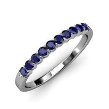 14 K Solid White Gold Natural Gem Stone Blue Sapphire Wedding Band For Women 6 7