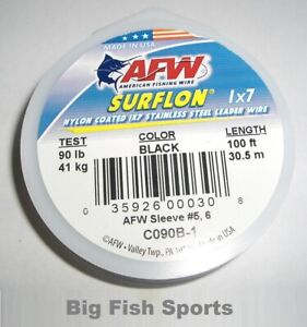 AFW SURFLON Black Coated 1x7 Stainless Wire 100' LENGTH NEW! PICK YOUR SIZE