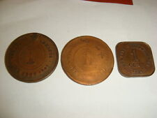 Straits Settlements 3X1 Cent 1901 Victoria 1908 Edward 1920 George  3 coins coin