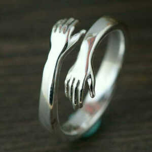925 STERLING SILVER PLATED ADJUSTABLE FINGER  RING FOR WOMEN  HUG DOUBLE HAND