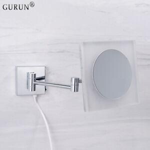 GURUN Acrylic 10X Magnification LED Lighted Wall Mount Makeup Mirrors Adjustable