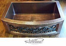 "36"" Ariellina Farmhouse 14 Gauge Copper Kitchen Sink Lifetime Warranty AC1920 VC"