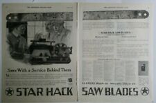 1919 star hack saw blades made of tungsten Steel two-page vintage tool ad