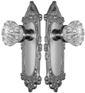 Vintage Victorian Style Estate Glass Door Knobs Set to Fit Any Door-Satin Nickel