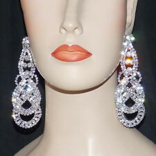 """Clear AB Rhinestone Crystal Drop Earrings  Drag Queen Pageant Show 4"""" Clip On"""